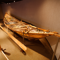 A large moose skin boat with heavy wooden frame stands on museum display, representative of traditional native construction techniques.