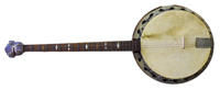A handcrafted banjo made from found materials created by Olaf Turnbull.
