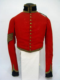 Scarlet military coat with gold buttons and trimmed with gold thread, owned by Sergeant-Major Adam Flanigan.