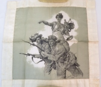 An illustrated souvenir handkerchief depicting an embodiment of 'Lady Justice', encouraging Italian soldiers to charge.