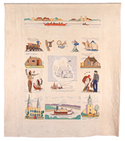 A quilt depicting a number of scenes and important buildings from the history of Winnipeg and its origins as the Red River Settlement.