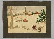 A hooked rug depicting four figures approaching a snowy hillside with houses, trees and a large church at the top.