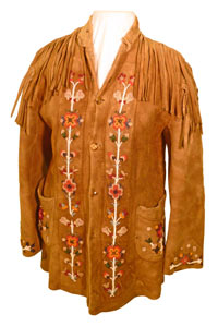 A moose hide jacket with intricate floral beading, originally owned by William Cowie.