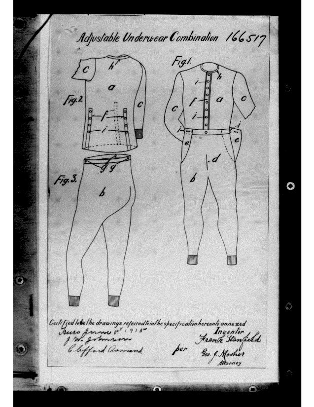 Labeled front and rear view drawings of the Adjustable Underwear Combination.