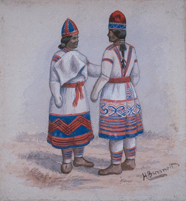 Watercolour of two Montaignais in traditional clothing, including bonnets, greeting each other.