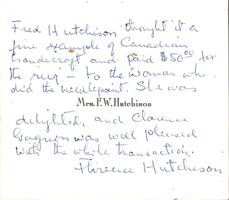 Handwritten note written by Florence Hutchinson on her letterhead, describing the general origins of this hooked rug.
