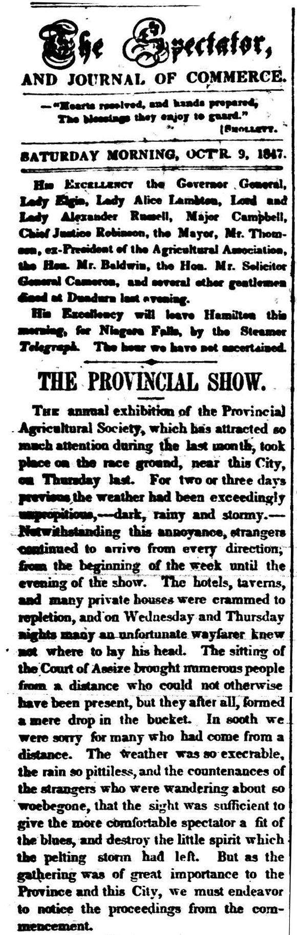 A newspaper clipping from 1847 describing opening of the Provincial Agricultural Fair in Hamilton, Ontario.