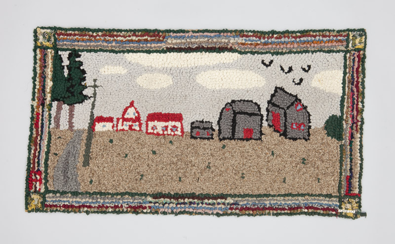 A burlap and wool hooked rug depicting life on a rural farm, a house and barn sit at the end of a long country lane in this peaceful landscape.