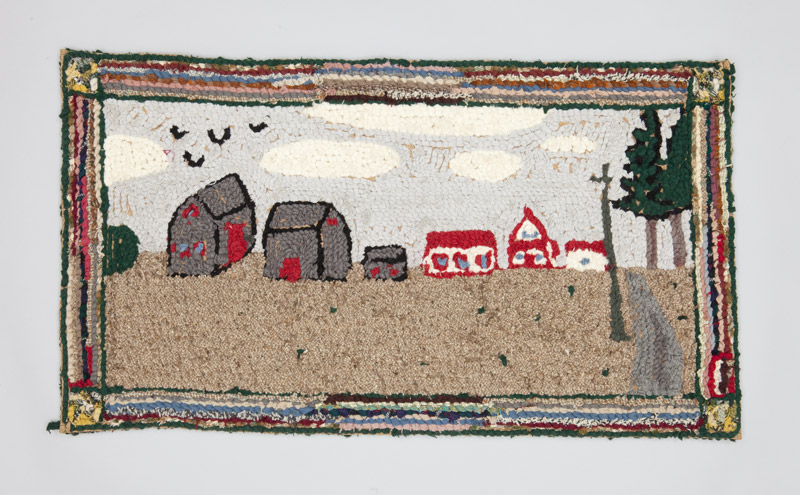 Rear view of a burlap and wool hooked rug depicting life on a rural farm, a house and barn sit at the end of a long country lane.