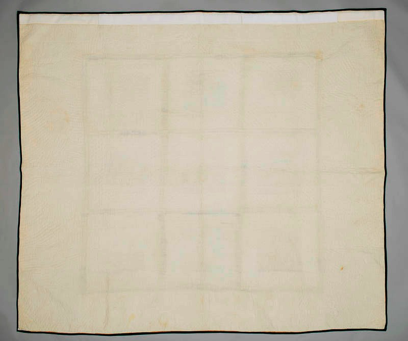Rear view of white quilt depicting the Mackay family's journey from Scotland to Quebec in 1830. This view shows the plain woven cotton backing of the quilt.