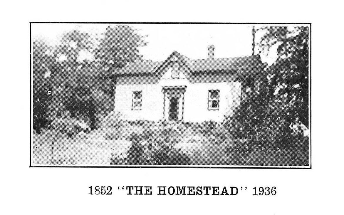 A modest single story white house with small windows sits surrounded by trees and grass fields, the Mackay homestead, Ontario, 1936.