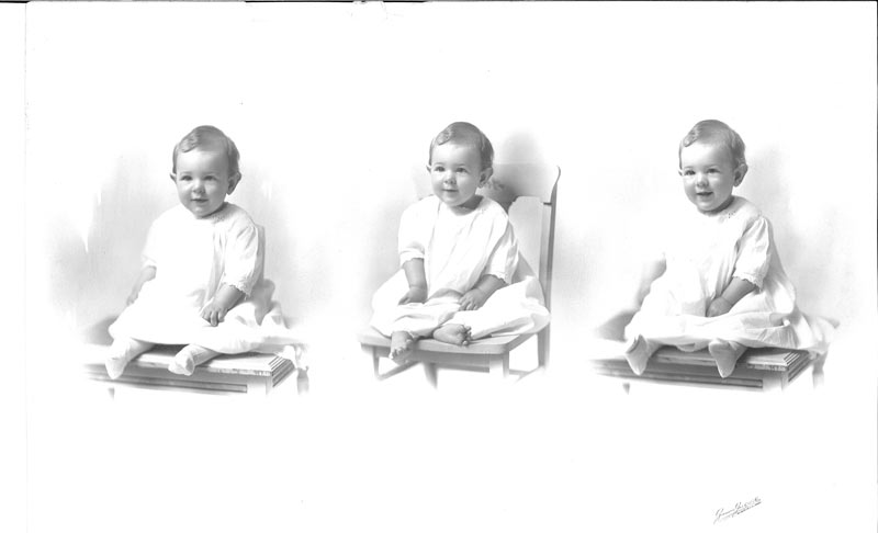 Three consecutive photographs of a baby smiling in a white dress, all photographs of the scarf donor as a baby in Winnipeg, Manitoba, 1920s.