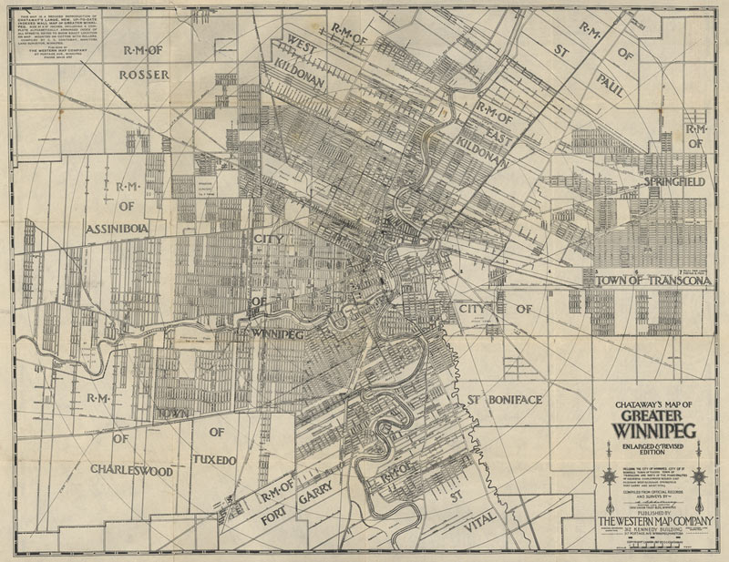 A Western Map Company map of greater urban Winnipeg, Manitoba, produced in 1920.