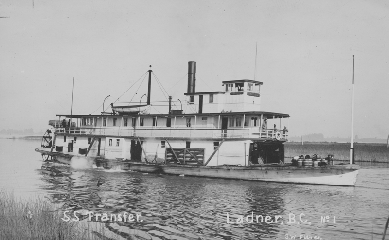 The SS Transfer, a large paddlewheeler steamboat in the Lower Fraser River, British Columbia.