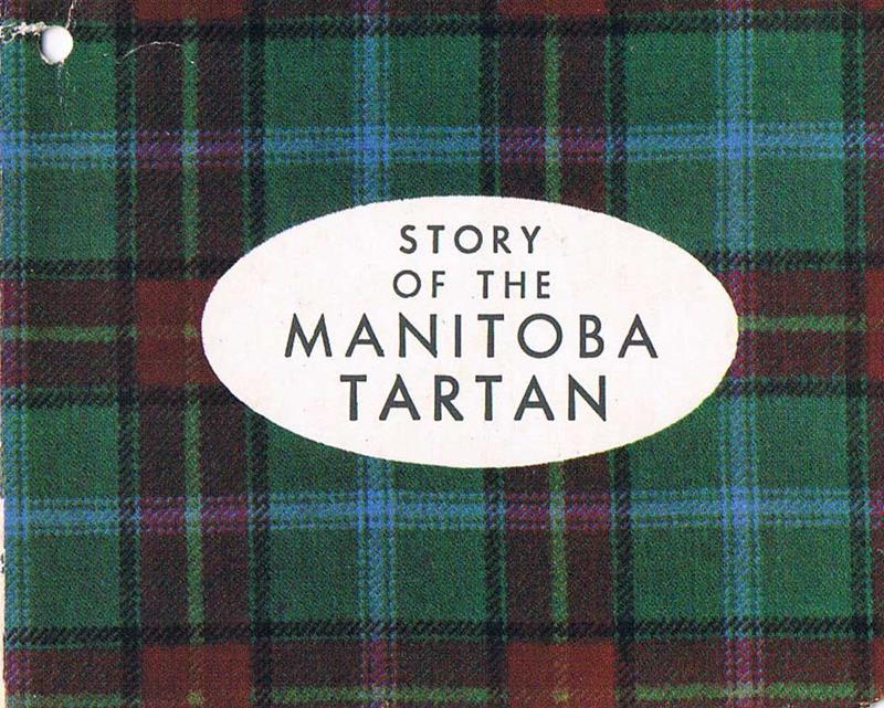 A white oval tag with the words 'Story of the Manitoba Tartan' was included with guild shop tartans.