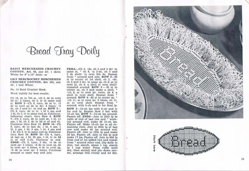 A clipping from a magazine showing a more elaborate example of the same type of breadbasket liner.