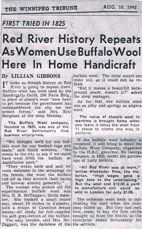 "An all text 1942 newspaper article describing the bison wool project and its history, saying it was ""first tried in 1825."""