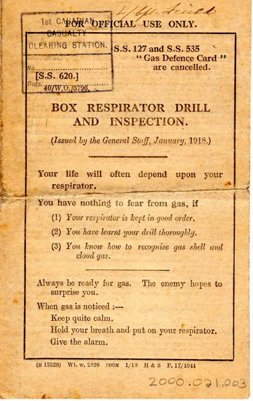 First page of a yellowed Canadian army instruction booklet titled 'Box Respirator Drill and Inspection'.