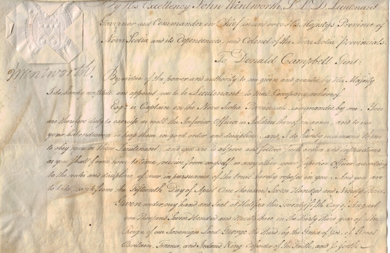 Handwritten commission on aged paper appointing Donald Campbell to lieutenant in 1793.