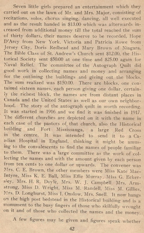 Printed text excerpt from Niagara Historical Society Publication No. 37, which mentions the fundraising quilt.