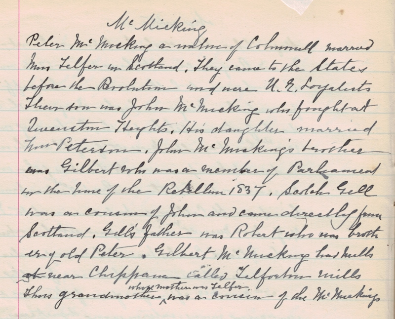 Handwritten genealogical notes regarding the McMicking family, written by Janet Carnochan between 1895–1925.