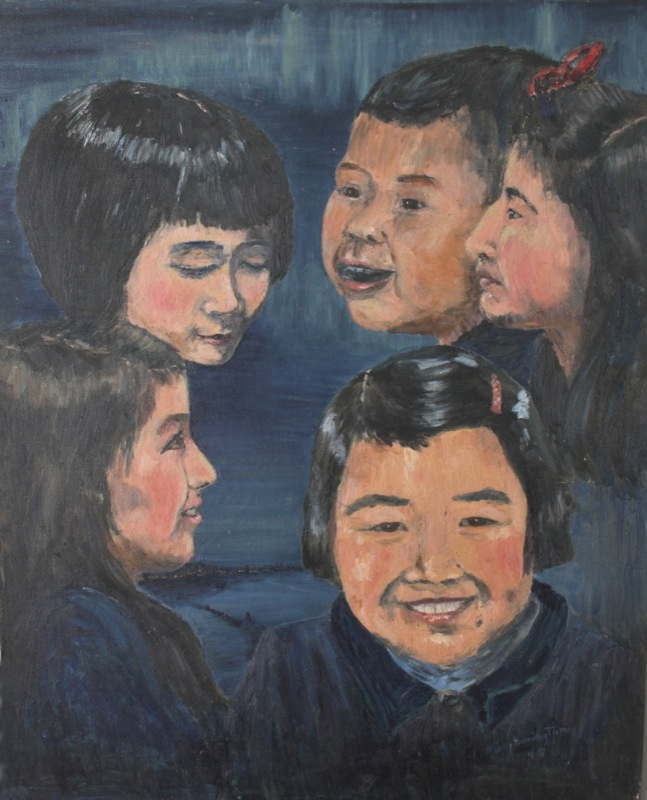 Painting of five children smiling and laughing superimposed against a northern night sky and settlement, 1945.