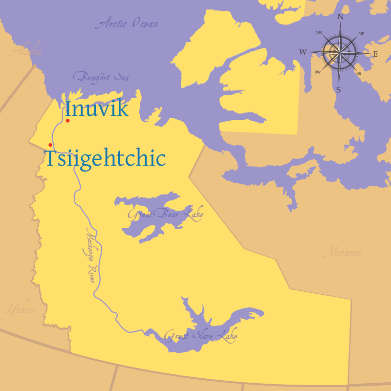 Map indicating the settlements of Inuvik and Tsiigehtchic in the Northwest Territories.