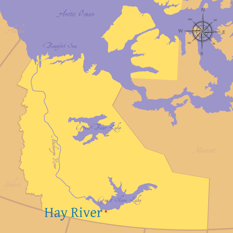 Modern map indicating the location of Hay River in the Northwest Territories.