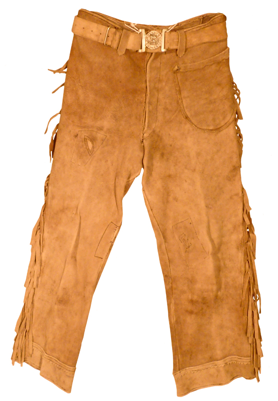 Matching brown deerskin trousers with metal buttons, originally owned by Klaus Epp.