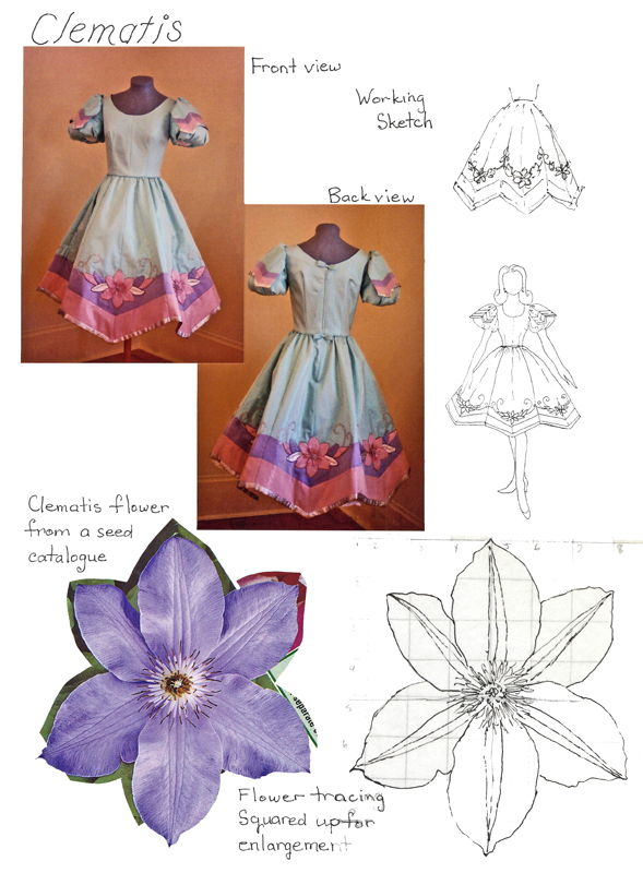 A design sheet showing inspiration for another dress, based on the clematis flower.