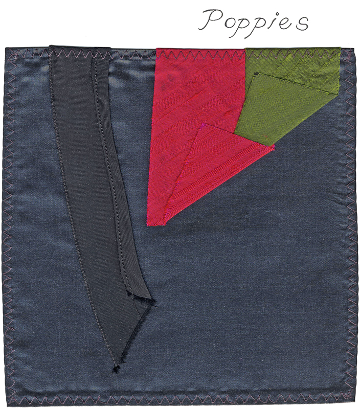 A fabric sample from the designer, a dark grey square with two strips of bright red and green.