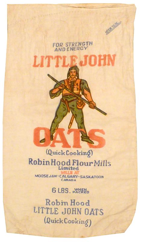 Small light brown oatmeal sack with 'Little John Oats' label.