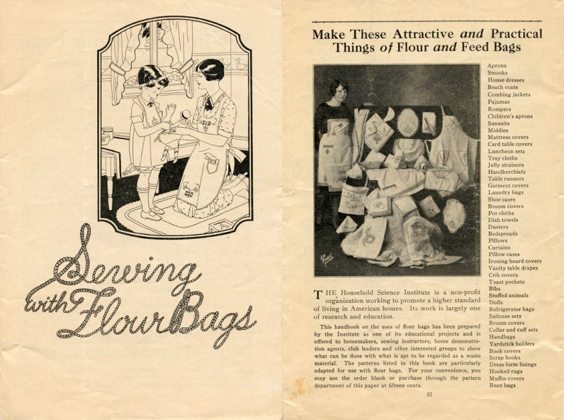 Aged pamphlet titled 'Serving with flour Bags' showing items that can be made from flour sacks, 1928.