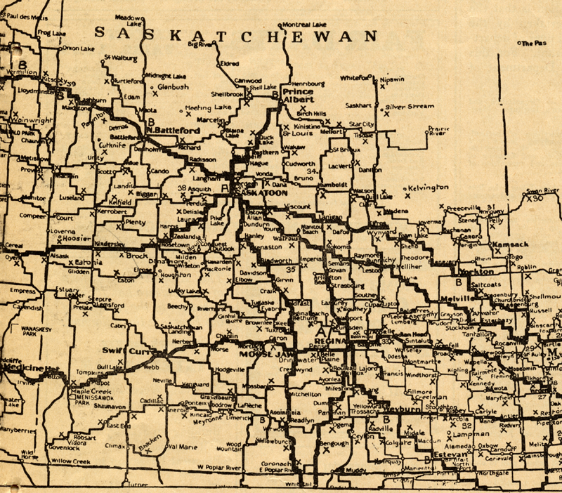 Yellowed historical map of southern Saskatchewan.