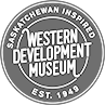 Logo of the Saskatchewan Western Development Museum, a stalk of wheat against a lone wagon wheel.