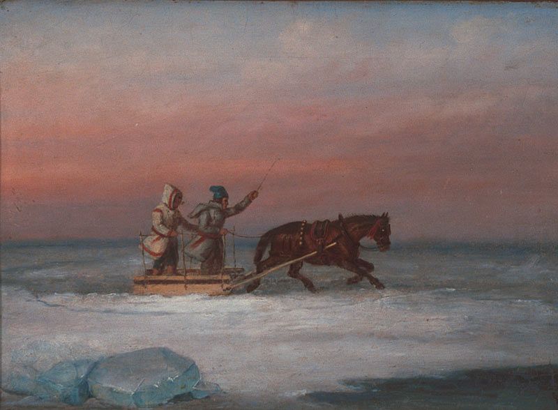 A painting by Cornelius Krieghoff of two habitants gliding across the ice on a horse drawn sled, 1847–68.